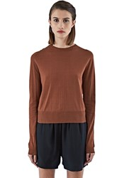 Rick Owens Biker Lupetto Fine Knit Long Sleeved Top Brown