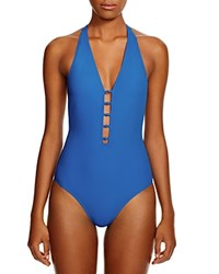 Tory Burch Solid Plunging One Piece Swimsuit Pool Blue