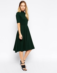 Asos High Neck Textured Midi Dress With Short Sleeves Forestgreen