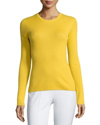 Michael Kors Collection Long Sleeve Cashmere Top Daffodil Yellow Women's Size S