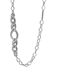 Lagos Sterling Silver Link Fluted Caviar Bar And Circle Station Chain Necklace 36