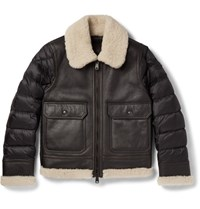 Moncler Laredo Shearling Trimmed Leather And Quilted Shell Down Jacket Black