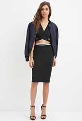 Forever 21 Varsity Striped Pencil Skirt Black White