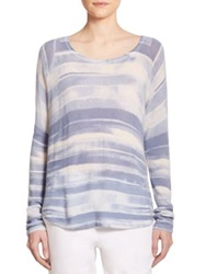 Vince Wool And Cashmere Striped Sweater French Blue Lavender