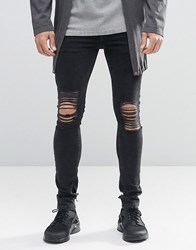 Asos Extreme Super Skinny Jeans With Mega Rips In Washed Black Washed Black
