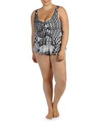 Karen Kane Plus Patchwork Tankini White Black