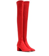Valentino Suede Over The Knee Boots Red