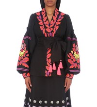 Yuliya Magdych Edentree Embroidered Linen Blouse Black
