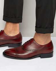 Dune Rebeche Leather Oxford Brogue Shoes Red