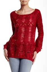 Chaudry Fringe Sweater Red