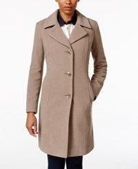 Anne Klein Wool Cashmere Walker Coat Taupe