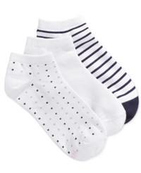 Hanes Women's 3 Pk. Comfort Soft Crew Low Cut Socks White Navy