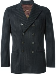 Jean Paul Gaultier Vintage Pinstripe Double Breasted Blazer Black