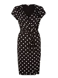 Yumi Polka Dot Print Wrap Dress Black