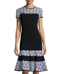 Andrew Gn Floral Panel Knit Short Sleeve Dress