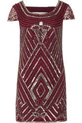 W118 By Walter Baker Taylor Cutout Embellished Tulle Mini Dress Burgundy
