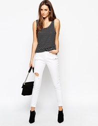 Just Female White Jeans With Distressed Detail