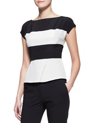Etro Cap Sleeve Wide Stripe Peplum Top Black White