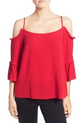 1.State Women's Long Sleeve Cold Shoulder Top Red Salsa