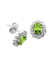 Lord And Taylor August Birthstone Perdot Cubic Zirconia Sterling Silver Stud Earrings Green