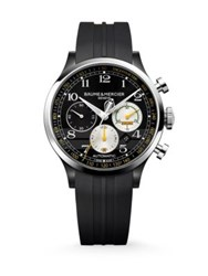Baume And Mercier Capeland Cobra Stainless Steel And Rubber Automatic Chronograph Strap Watch Black