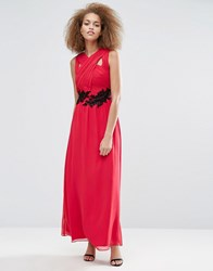 Little Mistress Applique Crossover Maxi Dress Cherry Red