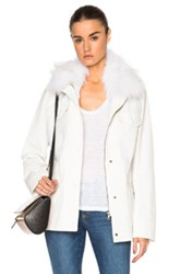 Army By Yves Salomon Raccoon Collar Parka Jacket In White