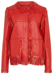 Lanvin Red Fringed Woven Leather Jacket