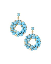 Greenbeads By Emily And Ashley Open Circle Station Earrings Turquoise Golden