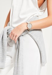 Missguided Rose Gold Large Face Contrast Strap Watch Grey