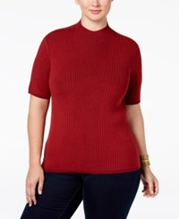Inc International Concepts Plus Size Mock Neck Elbow Sleeve Top Only At Macy's Burnt Pepper