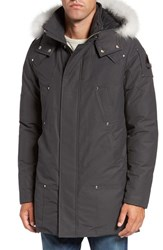 Moose Knuckles Men's 'Stirling' Water Repellent Down Parka With Genuine Fox Fur Trim Grey