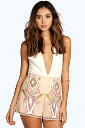 Boohoo Andie Multi Sequin Woven Shorts Nude