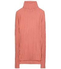 Acne Studios Corin Ribbed Wool Blend Turtleneck Sweater Pink