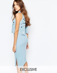 Frock And Frill Embellished Scallop Overlay Pencil Dress With Open Back And Split Powder Blue