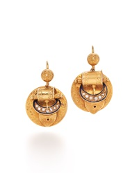 Fred Leighton Victorian Yellow Gold And Pearl Buckle Pendant Earrings