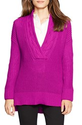 Petite Women's Lauren Ralph Lauren Cable V Neck Sweater Holiday Purple