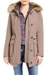 Rachel Roy Women's Faux Fur Trim Army Parka Taupe