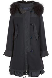 Moncler Blanche Shearling And Twill Trimmed Wool Blend Coat Midnight Blue