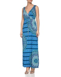 Laundry By Shelli Segal Geometric Print Maxi Dress Vibrant Blue Mult