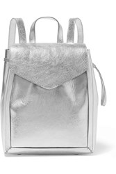 Loeffler Randall Metallic Textured Leather Backpack Silver