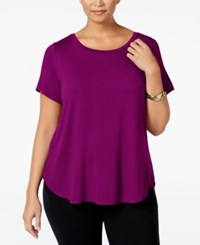 Alfani Plus Size High Low T Shirt Iris Glow