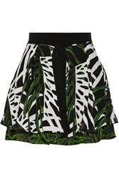 Proenza Schouler Pritned Textured Silk Mini Skirt Green