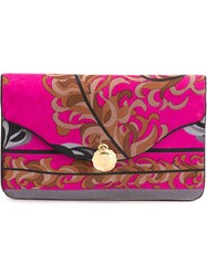 Emilio Pucci Vintage Foliage Print Clutch Pink And Purple