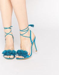 Daisy Street Pom Ghillie Lace Up Heeled Sandals Blue