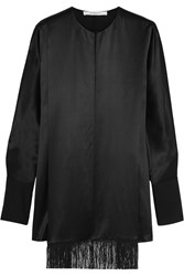 Givenchy Fringed Top In Black Silk Satin