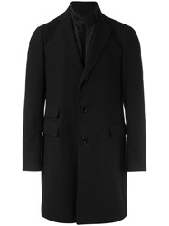 Pal Zileri Boucle Effect Buttoned Coat Black