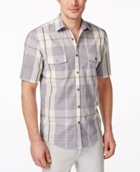 Alfani Black Men's Westerly Plaid Short Sleeve Shirt Only At Macy's