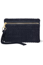 Elizabeth And James Scott Woven Suede And Leather Clutch Navy
