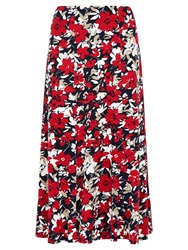 Viyella Floral Print Jersey Skirt Red